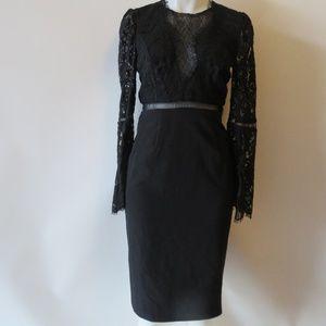 NWT BARDOT FAEDRA BLACK LACE BELL SLEEVE DRESS 6*
